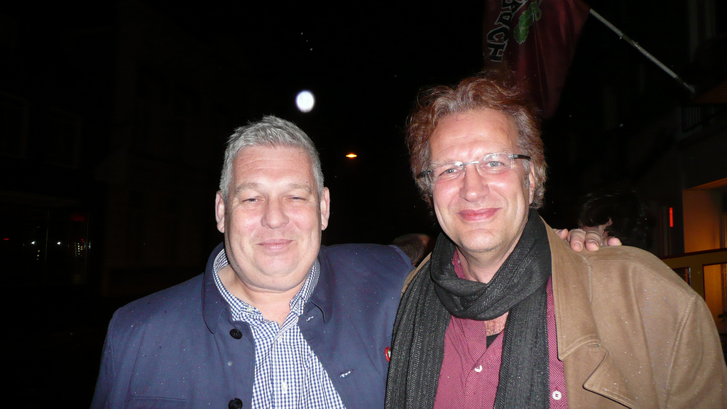 Ian and Berry in Breda, Netherlands after State Your Business show opening & a few beers :-)